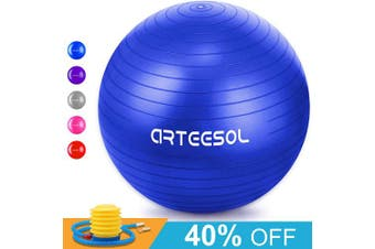 (75cm, blue) - arteesol Exercise Ball, Anti-Burst Yoga Ball with Quick Pump, 45cm/55cm/65cm/75cm/85cm Thick Balance Ball Chair for Birthing Fitness Workout Stability Pilates, Gym & Home