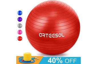 (55cm, red) - arteesol Exercise Yoga Ball, Extra Thick Stability Balance Ball (45-85cm), Professional Grade Anti Burst & Slip Resistant Balance, Fitness & Physical Therapy, Birthing Ball with Air Pump