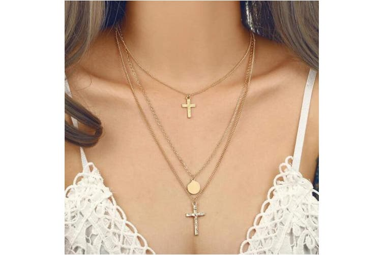 Anglacesmade Bohemia Layered Choker Necklace Cross Necklace Gold Disc Necklace Cross Coin Pendant Necklace Lariat Y Necklace for Women and Girls