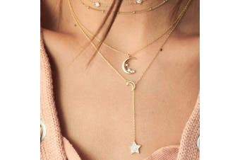 Anglacesmade Layered Choker Necklace Star and Moon Necklace Crescent Moon Star Charm Pendant Necklace Lariat Y Necklace Crystal Choker for Women and Girls