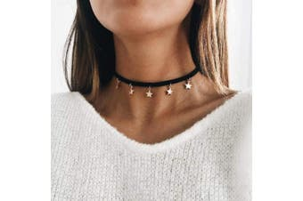 Anglacesmade Bohemia Star Choker Black Suede Choker Gold Star Necklace Star Pendants Chain for Women and Girls