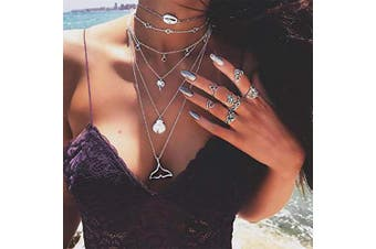 Anglacesmade Bohemia Layered Choker Necklace Whale Tail Necklace Shell Necklace Palm Tree Necklace Multilayer Silver Disc Station Chain for Women and Girls