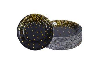 (23cm ) - Aneco 60 Pieces 23cm Black Bronzing Disposable Paper Plates Dinnerware Plates Gold Foil Polka Dot Plates for Party Graduation Wedding Anniversary Birthday