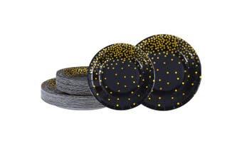 Aneco 60 Pieces 18cm 23cm Black Bronzing Disposable Paper Plates Dinnerware Plates Gold Foil Polka Dot Plates for Party Graduation Wedding Anniversary Birthday (black)