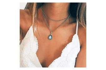 Anglacesmade Bohemia Layered Opal Choker Necklace Gemstone Necklace Teardrop Necklace Opal Gem Charm Pendant Necklace Silver Multilayer Chain for Women and Girls