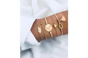 Deniferymakeup Pink Drops Oil Bracelet Map Chain Love Bracelet Shell Tassel Bracelet Set,Set of 5