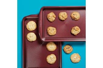 (2 Piece, Merlot) - Circulon 47738 Nonstick Bakeware Set, Nonstick Cookie Sheets / Baking Sheets - 2 Piece, Merlot Red