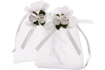 50 White Sumdirect 50pcs White Rose Organza Gift Bags 10cm X 12cm Wedding Favour Gift Bags Jewellery Pouches With Drawstring For Party Wedding Christmas Matt Blatt