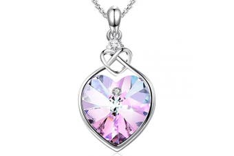(Pink 3) - Angelady Pink Heart Pendant Necklaces for Women Crystal from , Womens Necklace with Cubic Zircon Diamonds Valentine's Day for Daughter Mum Wife Girlfriend