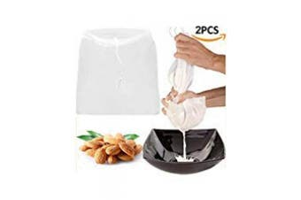 2 Pcs Pro Quality Nut Milk Bag - Big 30cm x 30cm Commercial Grade - Reusable Almond Milk Bag & All Purpose Food Strainer - Fine Mesh Nylon Cheesecloth & Cold Brew Coffee Filter