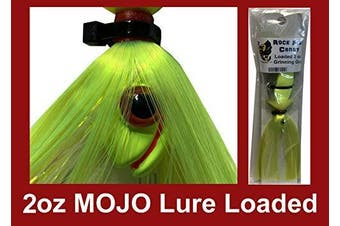 (Chartreuse) - Blue Water Candy - Rock Fish Candy 60ml Mojo Lure Loaded with 15cm Swimbait Shad Body - Grinning Gus