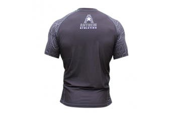 (XX-Large, Topography: Black) - Anthem Athletics New! 10+ Styles HELO-X Short Sleeve Rash Guard Compression Shirt - BJJ, MMA