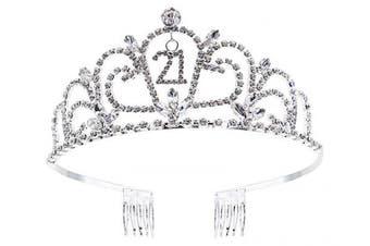 (Sliver_21) - Bienvenu Crystal Birthday Tiara Rhinestone Princess Crown Happy Birthday Crowns Silver Diamante Happy 21st