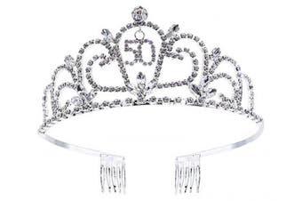 (Sliver_50) - Bienvenu Crystal Tiara Birthday Crown Princess Crown Hair Accessories Silver Diamante Happy 50th Birthday