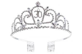 (Sliver_30) - Bienvenu Crystal Tiara Birthday Crown Princess Crown Hair Accessories Silver Diamante Happy 30th Birthday