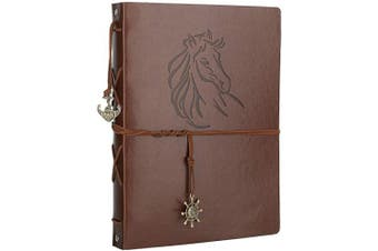 (Horse) - Scrapbook Album, AIOR DIY Photo Album Vintage Leather Memory Book Self Adhesive Wedding Guest Book, 28cm x 21cm 60 Pages, Vacation Gifts Birthday Anniversary Presents for Women Men Mom Dad, Horse