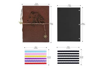 (lion) - Scrapbook Album, AIOR DIY Photo Album Vintage Leather Memory Book Self Adhesive Wedding Guest Book, 28cm x 21cm 60 Pages, Vacation Gifts Birthday Anniversary Presents for Women Men Mom Dad, Lion
