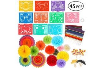 Fiesta Party Supplies - Cinco de Mayo Decorations Large Papel Picado Banner Tissue Paper Pom Poms Colourful Paper Fans Serape Table Runner Fiesta Cupcake Toppers - Mexican Fiesta Party Decor [45 PCS]