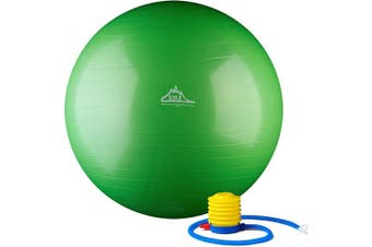 (55 cm, Green) - Black Mountain Products 910kg Static Strength Exercise Stability Ball with Pump