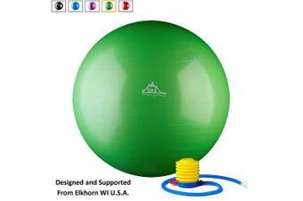 (65 cm, Green) - Black Mountain Products 910kg Static Strength Exercise Stability Ball with Pump