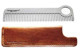 Chicago Comb Model 1 Stainless Steel + Horween Tan Leather Sheath, Made in USA, Ultra-Smooth, Durable, Anti-Static, 5.5 in. (14 cm) Long, Medium Tines, Ultimate Daily Use & Pocket Comb, Gift Set
