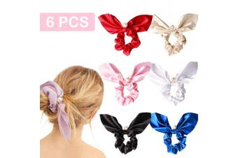 (6 PCS, Pearl & Solid Color Silky Bow) - 6PCS Hair Scrunchies Silk Rabbit Bunny Ear Bow Bowknot Scrunchie Bobbles Elastic Hair Ties Bands Ponytail Holder for Women Accessories