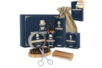 Beard Grooming Kit - Jurgen K Beard Care Kit for Men, Beard Growth Kit 5 in 1 Beard Oil and Balm, Wooden Beard Brush and Comb, Sharp Beard Scissors Luxury Gift Box and .