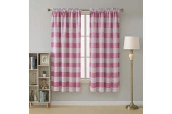 (52Wx72L inch, Pink) - Deconovo Pink Thermal Insulated Curtains Light Blocking Curtains Rod Pocket Striped Curtains for Girls Room 52W X 72L Pink 2 Panels