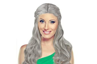 (Sliver Grey) - Acecharming Women's Long Blonde Curly Wig Fancy Party Anime Cosplay Wigs with Cap (Silver Grey)