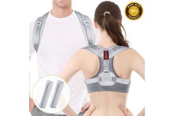 Posture Corrector Spinal Support - Acdyion Back Support Belt Adjustable Size, Physical Therapy Posture Brace for Women and Men, Shoulder and Neck Pain Relief (Grey, L/XL)