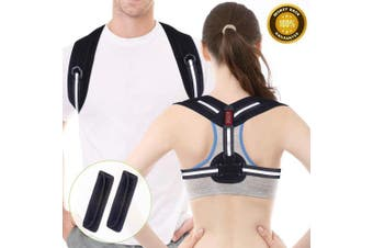 Posture Corrector Spinal Support - Acdyion Back Support Belt Adjustable Size, Physical Therapy Posture Brace for Women and Men, Shoulder and Neck Pain Relief (Black, L/XL)