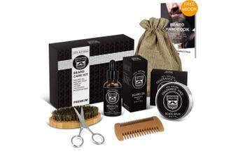 MALE GOD Beard Kit - Beard Grooming Kit with Natural Organic Beard Oil and Beard Balm, Wooden Beard Brush and Comb, Beard Scissors, Luxury Gift Box,Nylon Bag and . , Perfect Gifts for Men