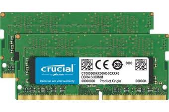 (32GB Kit (16GBx2) Dual Rank) - Crucial 32GB Kit (16GBx2), 260-pin SODIMM, DDR4 PC4-19200,