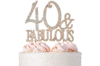 (40&Fab Rose) - Premium Metal 40 and Fabulous Rose Gold Rhinestone Gem Cake Topper. Perfect 40th Birthday Party Keepsake and Decoration. Sparkling, Crystal and Diamond Style Bling Makes a Great Centrepiece. 40 & Fab RG
