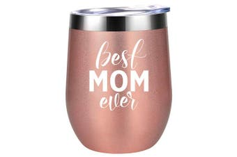 (350ml, Rose Gold) - Best Mom Ever | Funny Moms Mothers Gifts | Best Mom Presents for Mother's Day, Mom Birthday, Wife, Grandma | Coolife 350ml Stainless Steel Wine Tumbler Insulated Sippy Cup