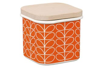 (Persimmon) - Orla Kiely   Enamel Storage Jar   Persimmon   Linear Stem Design