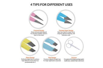 Andlane Tweezers Set - Professional Stainless Steel 4-Piece Precision Tweezer for Men & Women - Great for Facial Hair Removal, Eyebrow Shaping, Splinters & Ingrown (4 Colours)
