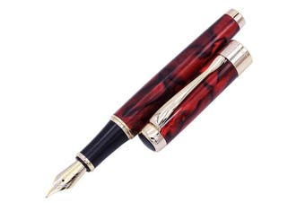 (Brown Fountain Pen) - Jinhao 1200 Brown Marble Fountain Pen Medium Nib with Ink Converter