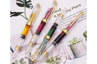 (3011 Fine Nib) - 4 PCS Wing Sung Clear Classic Fountain Pens Fine Nib Arrow Clip, Piston Filling System, Gold Trim, in Clear transparent Colour