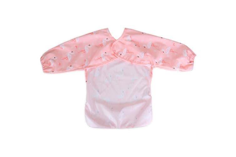 (1 sleeved bib, Flamingo) - Luxja Baby Waterproof Sleeved Bib, Long Sleeve Bib for Toddler (6-24 Months), Flamingo