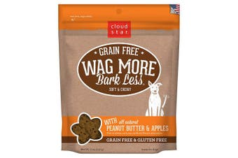 (Peanut Butter & Apple, 150ml) - Cloud Star Wag More Bark Less Original Soft & Chewy Dog Treats, Corn & Soy Free, Baked in USA