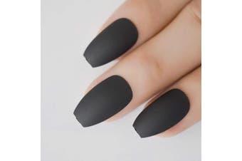 (Z974) - CoolNail Coffin Nail Tips Classic Matte Black Grey Ballerina False Nail Full Nails Flat Top Fake Nails Tips