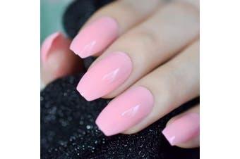 (Z969) - CoolNail Shiny Coffin Pearl Pink Ballerina Fake Nails Candy Pink UV Design False Nail Full Cover Acrylic Nails Art