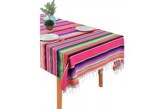 (Pink Multicolor) - BOXAN 150cm x 210cm Mexican Blanket Striped Tablecloth for Festive Mexican Fiesta Wedding Party Decorations, Chic Square Natural Cotton Serape Blanket Dining Table Cloth Cinco De Mayo Gifts for Mom