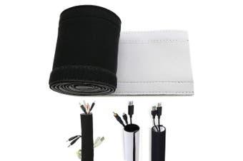(Black/White( 59 inch)) - 150cm Neoprene Cable Management Sleeve Neoprene Cord Organiser Neoprene Flexible Cable Cover Neoprene Cable Protector