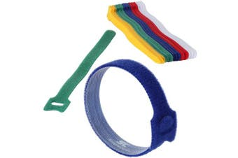 (Multi-Color) - Cable Management Ties - (30) 20cm Reusable Self-Gripping Cord Straps - Organise Cables, Cords, and Wires - Simple Cord Organiser for Desks and Offices (Multi-Colour Red White Blue Green and Yellow)