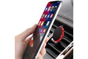 (Red) - SAVORI Magnetic Car Mount Holder, Universal Bling Bling Rhinestones Crystal Universal Air Vent Car Phone Holder for Dashboard Cell Phone Cradle Mount for Samsung Galaxy, iPhone X and More (Red)