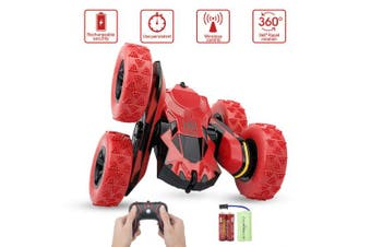 (Red) - Remote Control Stunt Car - Sugoiti RC 4WD Off Road Rechargeable 2.4GHz 3D Deformation Racing Vehicle,Double Sided Rotating Tumbling 360 Degree Flips Off Road High Speed 7.5MPH Truck,Gift for Kid (Red)