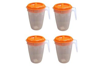 (4, Orange) - Set of 4 Black Duck Brand Plastic Pitcher with 2-Slotted Orange Lid and Handle