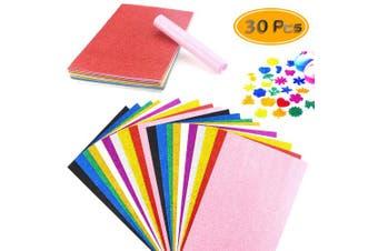 BcPowr 30PCS EVA Glitter Craft Foam Sheets, Foamie Sheets Rainbow Foam Handicraft Sheets Crafting Sponge For Arts DIY Projects, Classroom, Scrapbooking, Parties Thick & Soft Paper (10 Colour, 30cm x 20cm )
